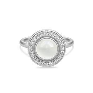 salg af Julie Sandlau Luna ring sølv rhodineret med hvid månesten