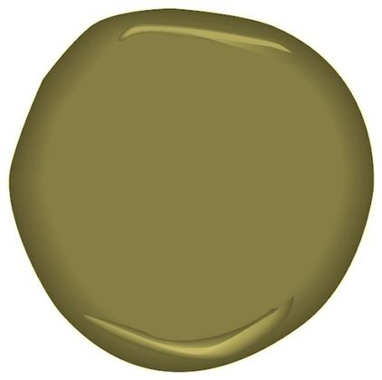 Paint by Benjamin Moore Perfectly Pesto, a dark warm Olive Green.