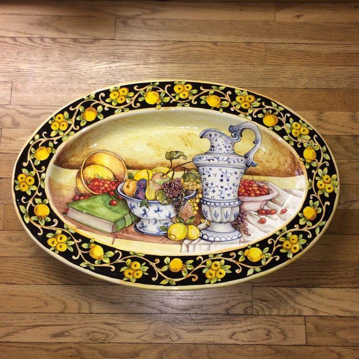 italian ceramic store | Tuscan Still Life Oval Italian Ceramic Platter with Lemons