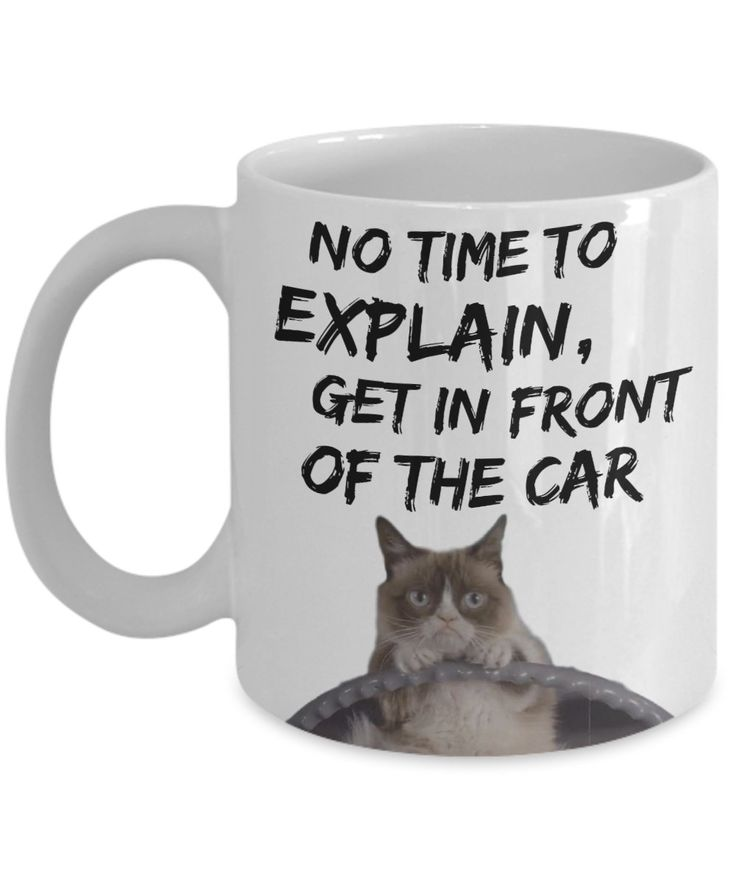 "Grumpy Cat Meme Mug ""Funny Grumpy Cat Mug - No Time To Explain Get In Front Of The Car"" Grumpy Cat Gift Mug by AmendableMugs on Etsy"