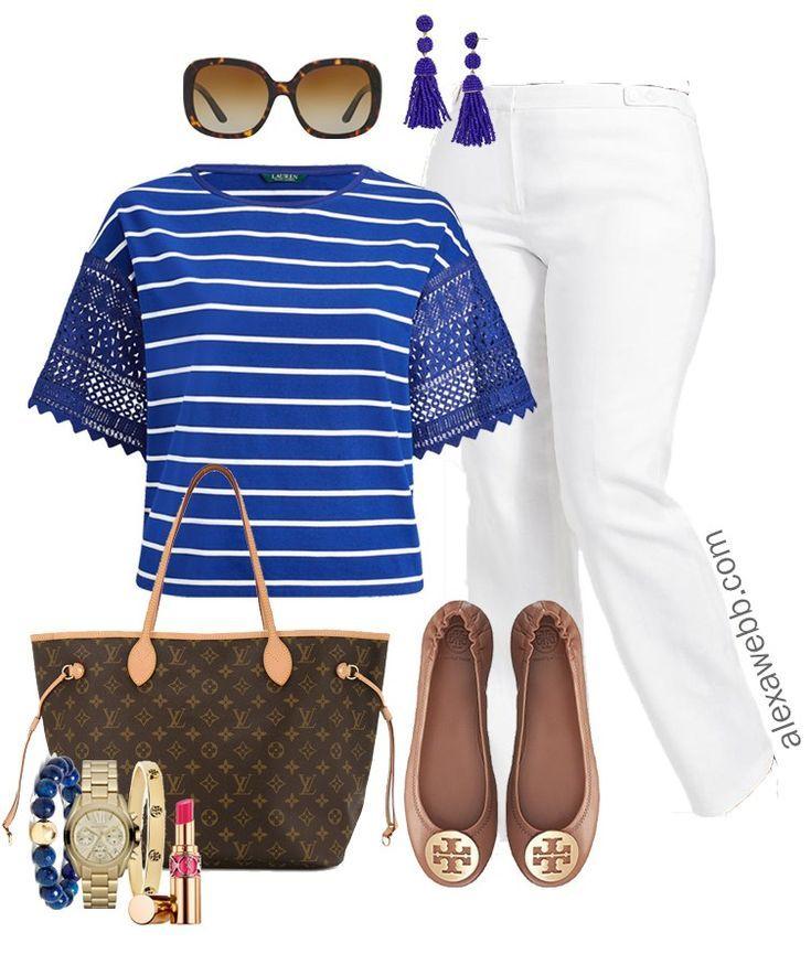 4fff6b1cc2e1 Plus Size White Pants Work Outfit - Plus Size Workwear - Plus Size Fashion  for Women - alexawebb.com  alexawebb  plussize