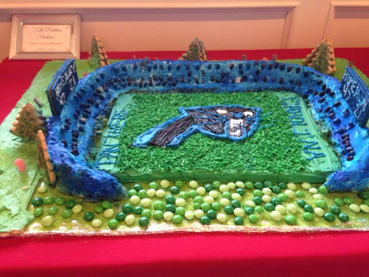 This is a gingerbread Carolina Panthers stadium!!