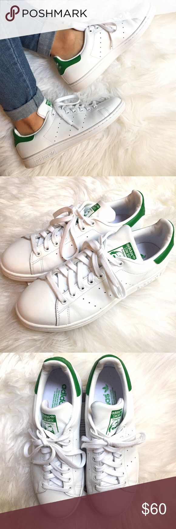 Adidas Stan Smith Sneakers Grab this pair of Adidas Stan Smith Sneakers! In like-new condition, with minimal wear. Women's size 9. White/Green color.   10% off bundles of 2 or more items No Trades Reasonable offers accepted Fast Shipping  Please comment with any questions! Adidas Shoes Athletic Shoes