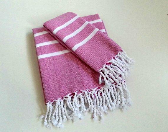 Turkish Bath Towel Set, Head Towel and Bath Towel, Handmade Peshtemal and Peshkir, Hammam, Beach Towel, Spa, Fuchsia Pink