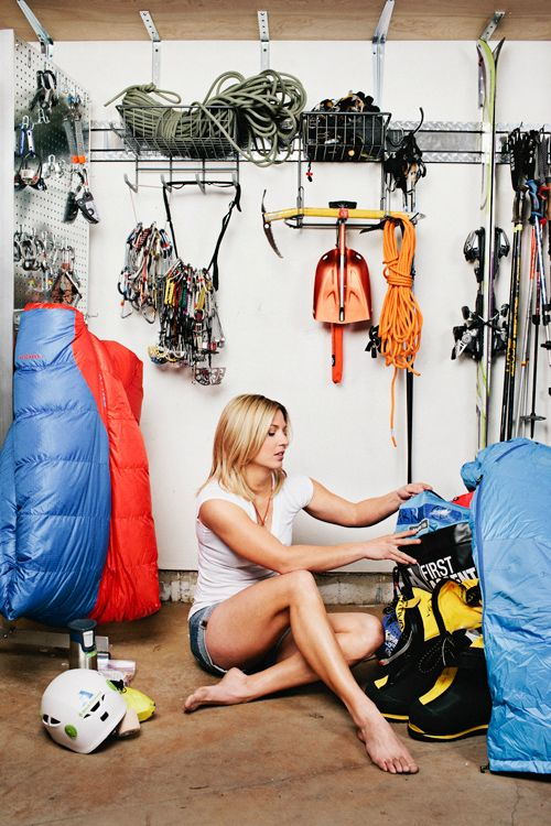 Melissa Arnot packing for her attempt at a 5th Everest summit. Shot for Outside.