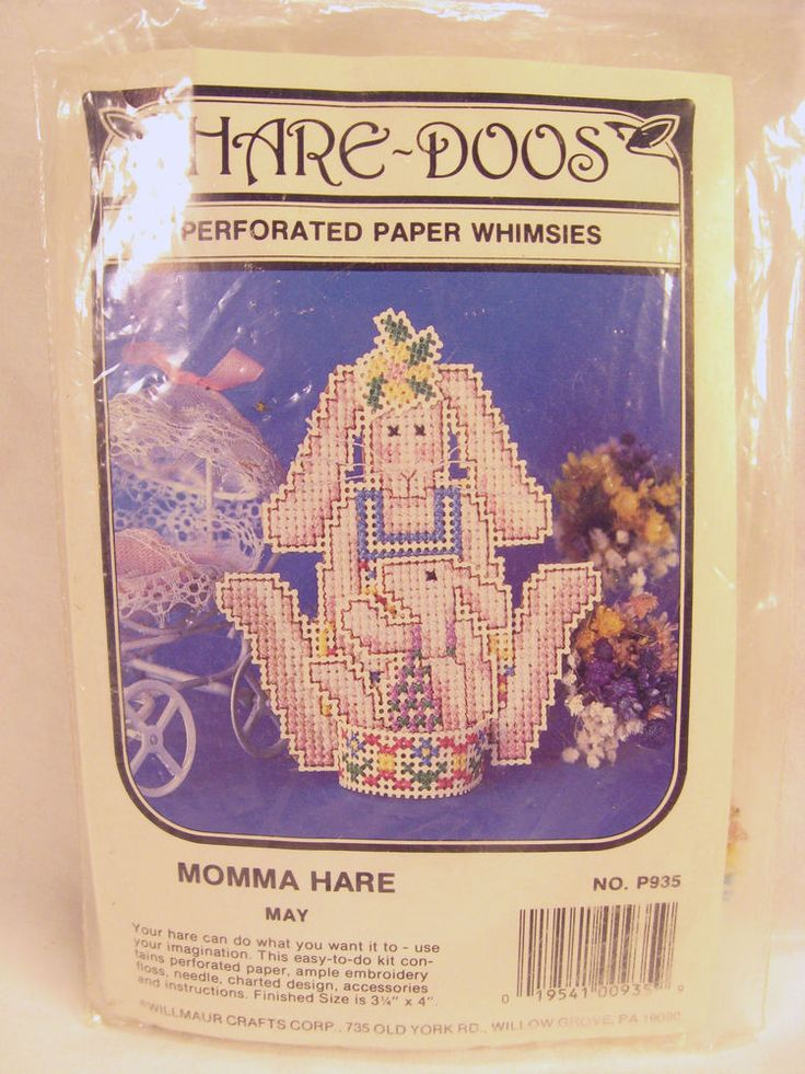 Willmaur Crafts Cross Stitch Perforated Paper Hare Doos Momma May Easter Basket #WillmaurCrafts