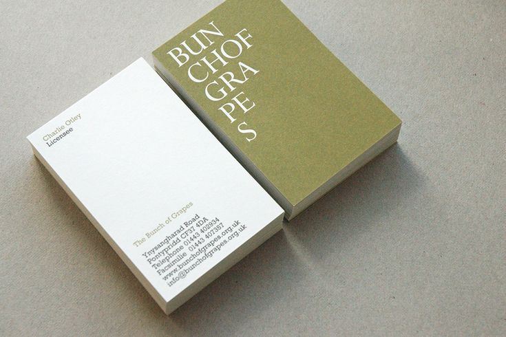 Business cards for The Bunch of Grapes wine bar by Departures, Cardiff.