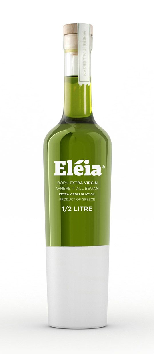Eleia Extra Virgin Olive Oil – simple leaf abstract as a part of letter. The concept of the design idea comes from the process of protecting olive trees from bugs by painting them on the bottom part with white protection paint. Brilliant!!! by  Emilia Fiedorowicz