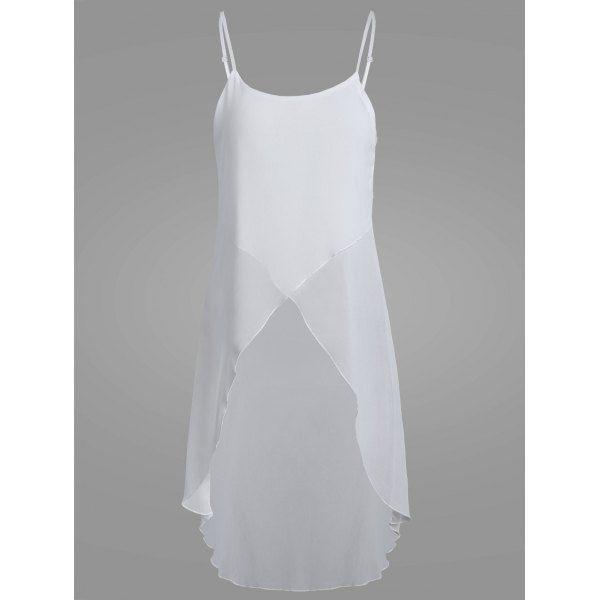 $10.35 High Low Sheer Chiffon Cami Blouse - White