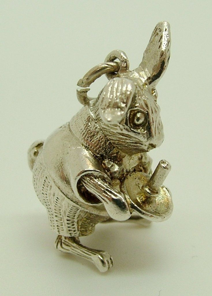 1960's Silver Charm Dressed Bunny Rabbit with Candle