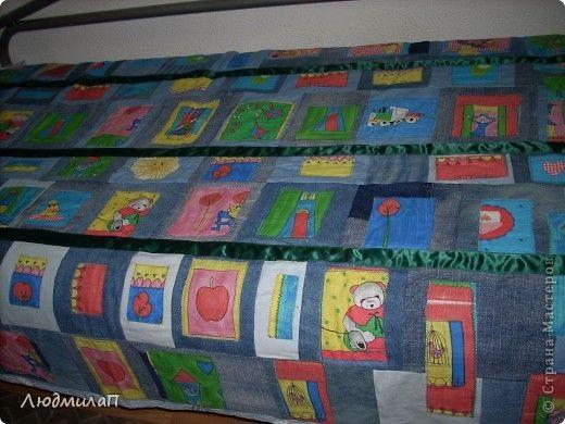 Лоскутное джинсовое одеяло