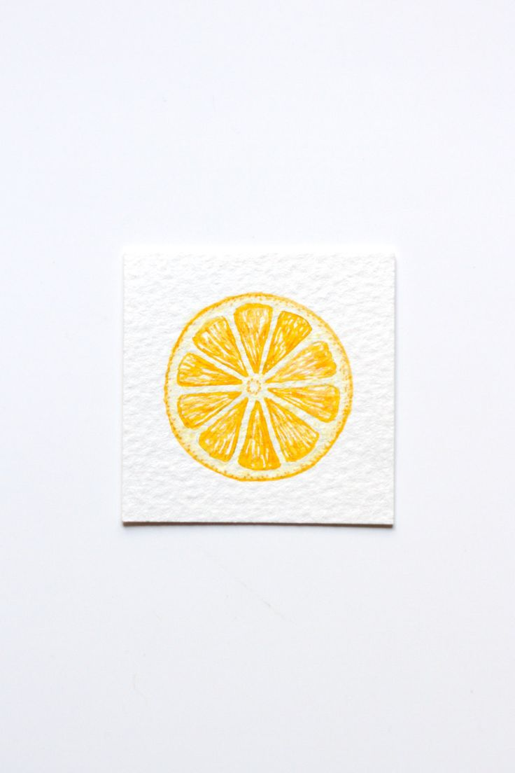 Miniature Watercolor Lemon Painting, Miniature Art, Food Art, Tiny Painting, Fruit Art, Citrus, Orange, Lemon Slice, Yellow, MADE TO ORDER by ArtStuffByJess on Etsy https://www.etsy.com/ie/listing/384624166/miniature-watercolor-lemon-painting