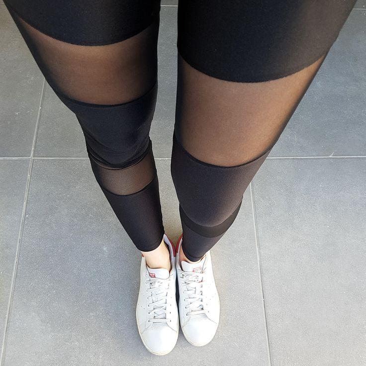 Premium lycra black mesh leggings
