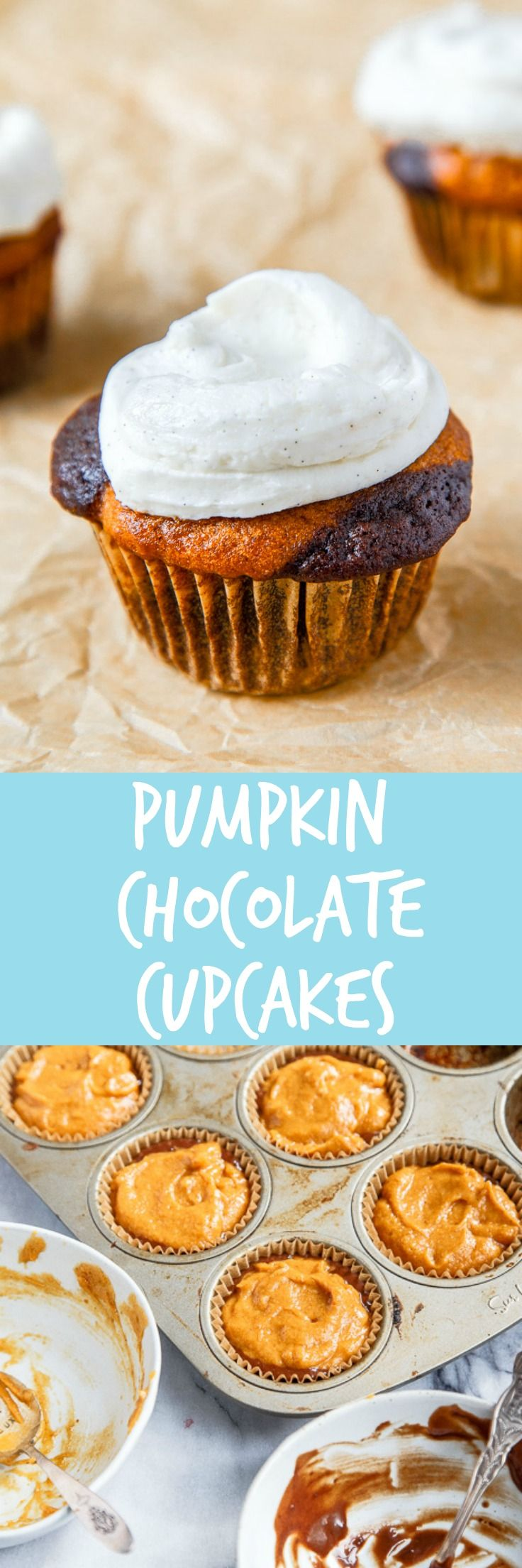 A small batch of pumpkin chocolate cupcakes. Recipe makes 4 cupcakes with vanilla bean buttercream.