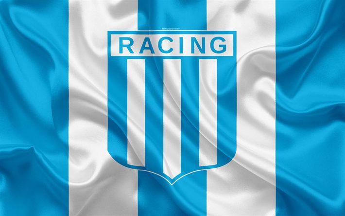 Download wallpapers Racing Club de Avellaneda, 4k, Argentine Football Club, emblem, logo, First Division, Superliga Argentina, Argentina Football Championships, football, Avellaneda, Argentina, silk texture