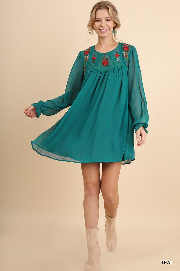 89d8876ff211fa New Umgee teal dress featuring floral embroidery detail and sheer ruffled  wrist long sleeves. Keyhole back. Hang To Dry. Material  60% Cotton 40%  Polyester.