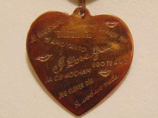 """RARE HUGE ORIGINAL ANTIQUE VINTAGE BRASS / COPPER ENGRAVED HEART """"I LOVE YOU"""" IN 15 DIFFERENT LANGUAGES PENDANT    eBay #Jewelry #AntiqueJewelry #VintageJewelry #CostumeJewelry #LOVE #ILoveYou #HEART #HeartJewelry #LoveJewelry #English #Greek #Chinese #Spanish #French #Italian #Latin #Portuguese #Danish #Swedish #Hebrew #Gaelic #Polish #MorseCode #Romance #ValentinesDay #Gift #Anniversary #Birthday #Pendant #Necklace"""