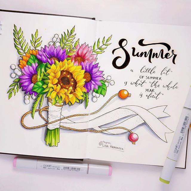4/8 theme of my drawing challenge - summer garden flowers  Мне показалось, что всего одной темы с цветами для ботанического марафона будет маловато, поэтому предлагаю вам вторую - летние садовые цветы!  Кто не успел нарисовать любимые букеты, дерзайте :) Больше цветов не планируется ;) Рисуем до пятницы и не забываем хэштэг #lk_sketchflashmob  P.S. Кстати, этот скетч сделан в скетчбуке #seawhite, которые достанутся победителям марафона ;)