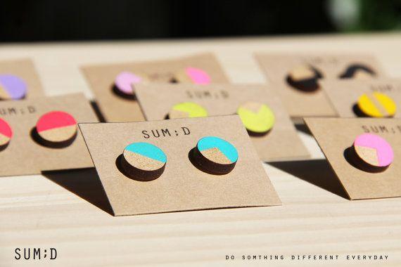 Handmade Round Shape Painted Wood Earrings by sumdstore