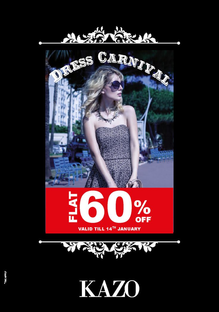 With KAZO's Dress Carnival, Enjoy FLAT 60% OFF on all the Dresses. Valid only till 14th January.