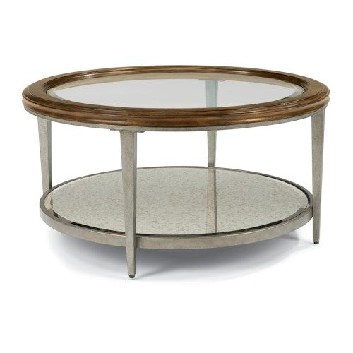 Flexsteel Patina Transitional Round Cocktail Table with Glass Top and Antiqued Mirror Shelf