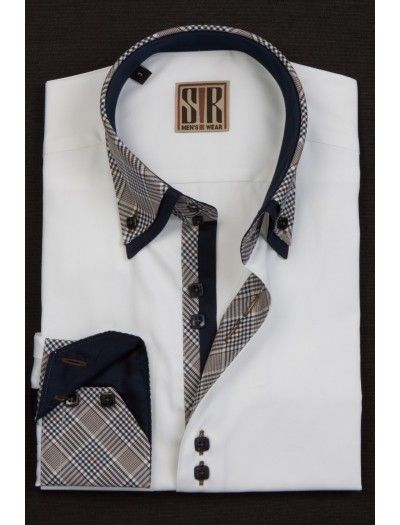 PERFECT WHITE COTTON SHIRT ACCENTED WITH DOUBLE COLLAR Shirt by Sir Menswear Shop Now at www.fashionmenswear.com