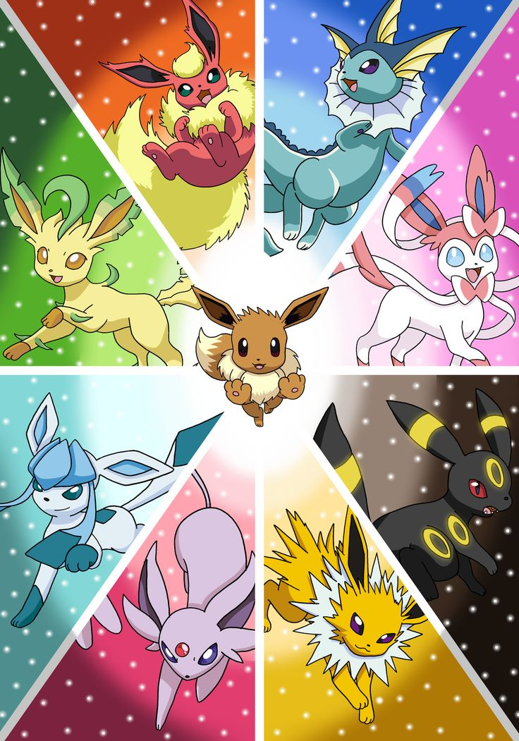 Eeveelutions by Tails19950 on deviantART. Eevee, Leafeon, Flareon, Vaporeon, Sylveon, Umbreon, Jolteon, Espeon, and Glaceon.
