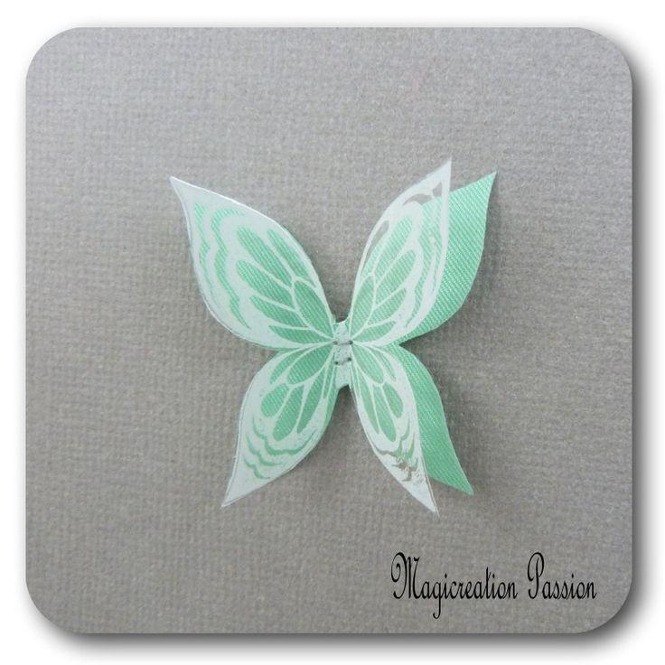 doubles ailes de papillon 3.5 cm soie vert transparent motifs blancs - Ysatis : Décoration d'intérieur par les-tiroirs-de-magicreation-passion