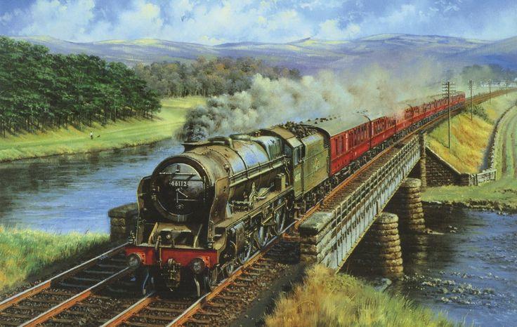 Railroads Bridges Trains Pictorial art Retro Smoke ...