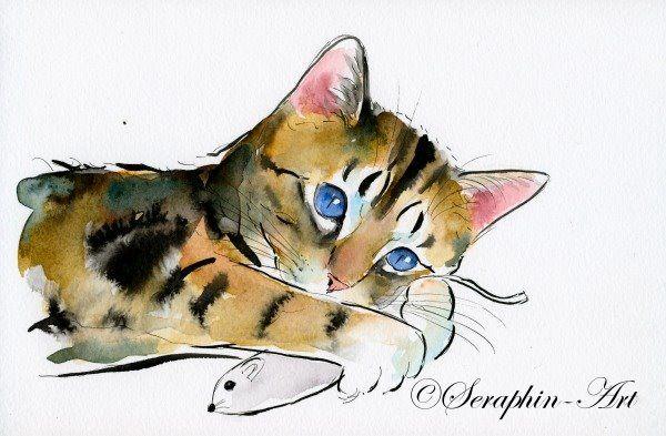 2011 06 153 Katze Aquarell Zeichnung Zeichnungen Katze Malen