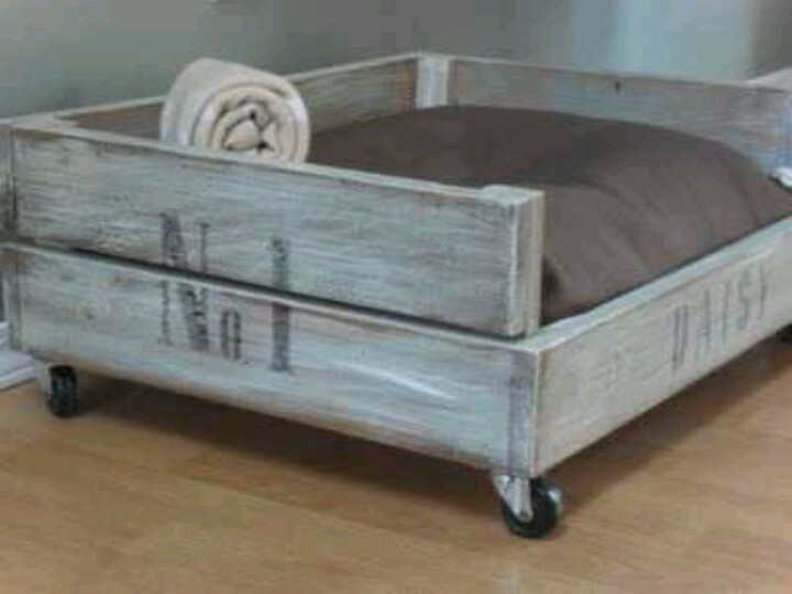 Make a dog bed to fit your dog size.. some cheap wood some antique white paint and and some wheels