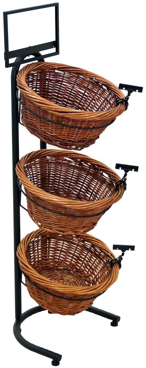 3 Tier Basket Stand, Sign Clips, Wicker - Black $95.70