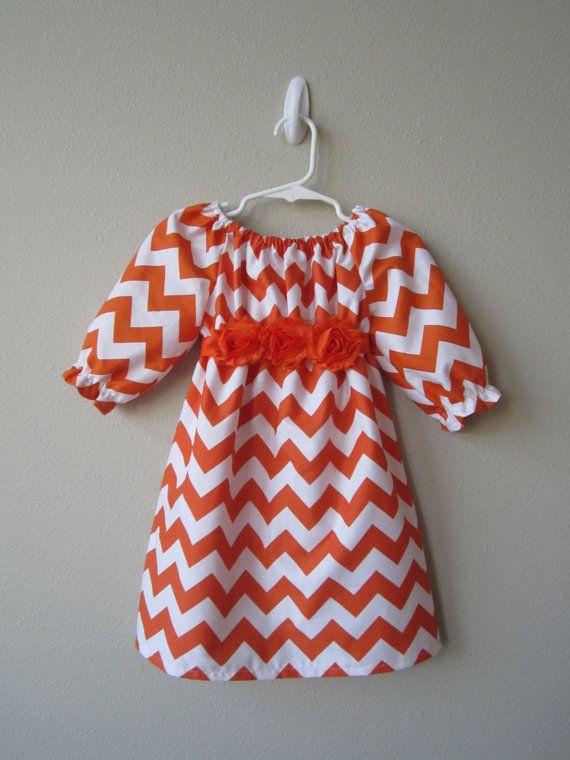 3/4 Sleeve Orange Chevron Dress with Orange by crocodilecrunch, $40.00