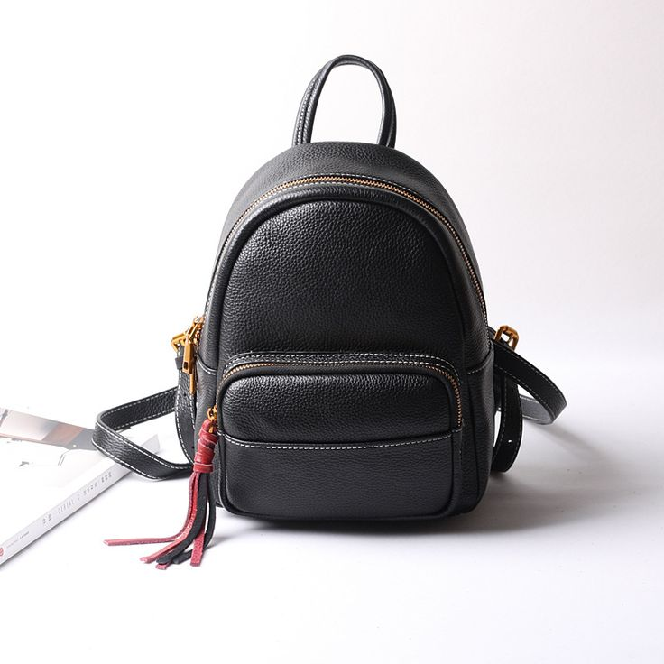 Luxury Women's Black Genuine Leather Backpacks With Fashion Design High Quality Female Cow Leather Shopping