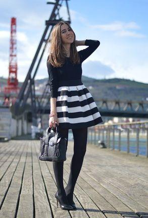 Vestido rayas manga tres cuarto-Blanco y negro