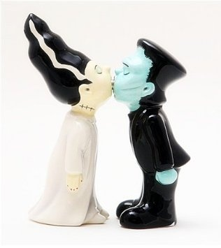 Frankenstein Couple Ceramic Magnetic Salt And Pepper Shakers Collection Set