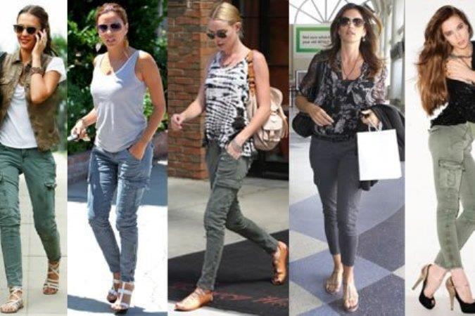 Оливковые женские джинсы брюки