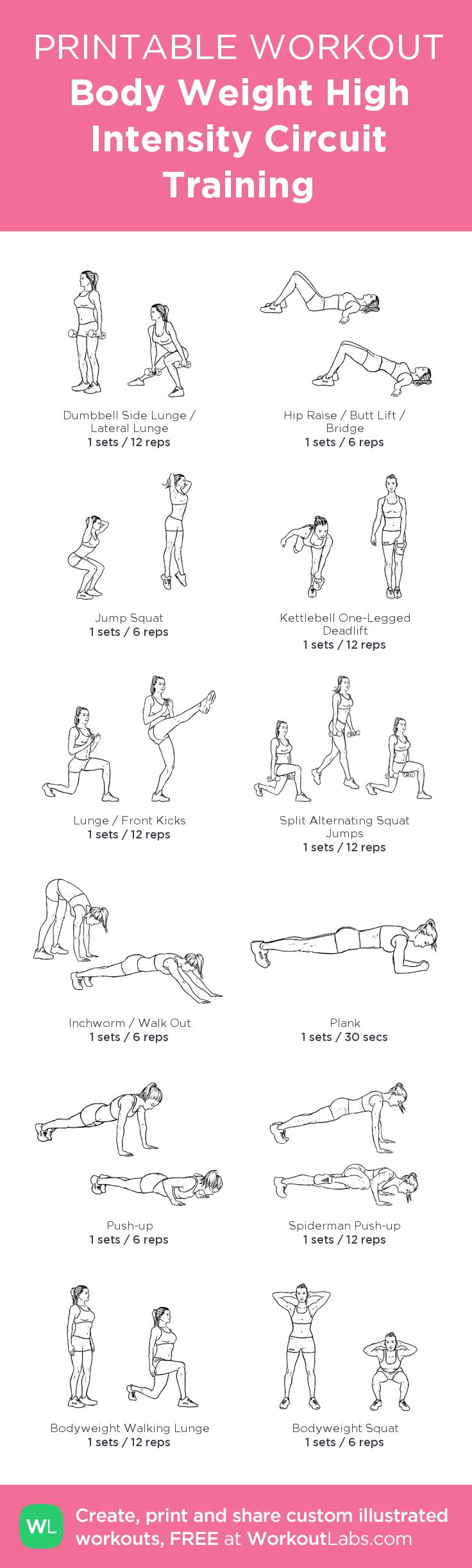 Full Body Workout: Body Weight / High Intensity Circuit Training (HIIC). 1-3 rounds with 30 second rest. You don't need the dumbells