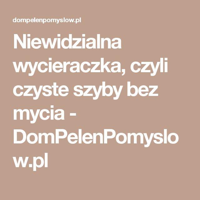 Niewidzialna wycieraczka, czyli czyste szyby bez mycia - DomPelenPomyslow.pl