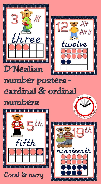 Cardinal & ordinal number posters through 20 in D'Nealian manuscript!