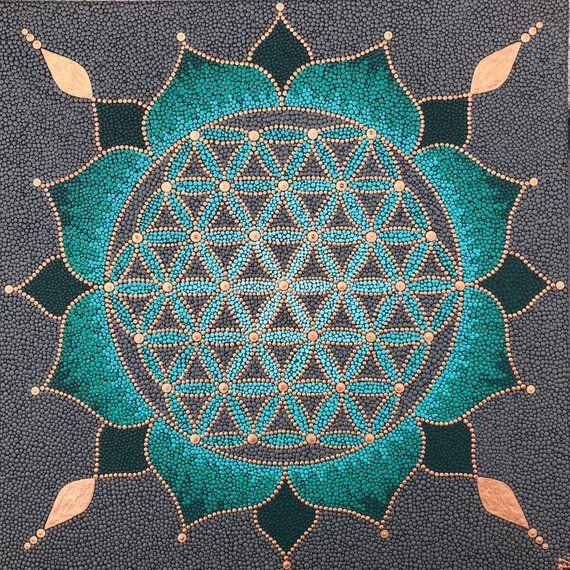 Flower Of Life Dotpainting Mandala 50x50cm In 2021 Mandala Painting Mandala Design Art Geometric Art
