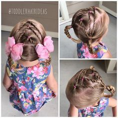 We tried a funky and fun style today! First I sectioned off a rectangular section in the front center, then pulled the rest of the hair into 2 low piggies. Next I split that rectangle into 3 pony sections. I split each of those ponies and rose twisted each side down to the piggy below. I finished by braiding the piggies! The rope twists remind me of 3 arrows pointing forward! #toddlerhair #toddlerhairideas #toddlerhairstyles #cutetoddlerhair #cutegirlhair #toddlerhairstyleideas #hairideas…