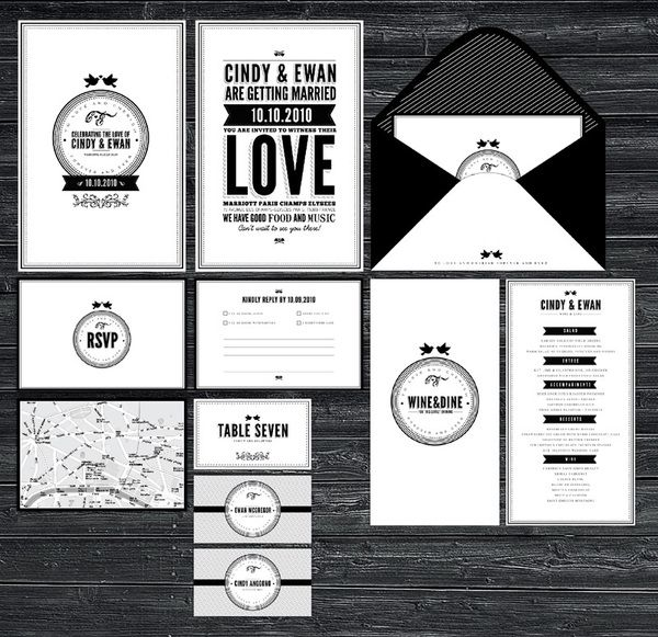 Full set complete with RSVP-card, envelopes, menu and map in a lovable simple b style.