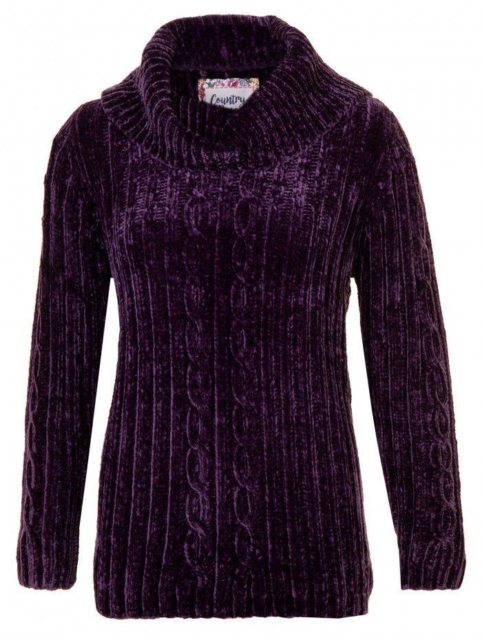 67c4c3fefd Female Country Rose Purple Cable Knit Chenille Jumper
