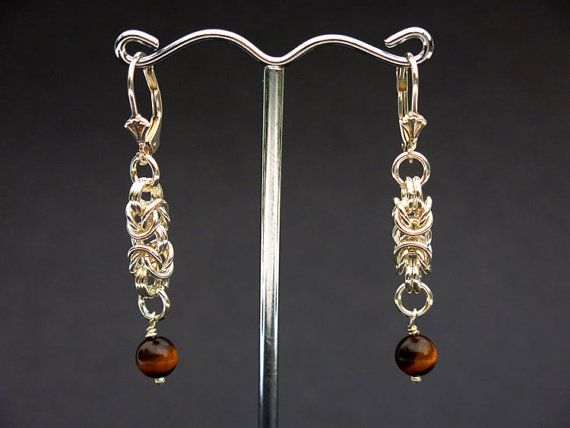 Byzantine Chainmaille & Tiger Eye Drop Earrings