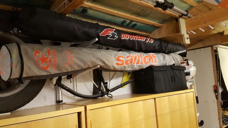 Windsurfing storage rack to store your equipment in your garage