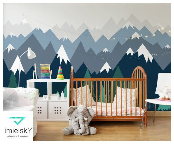 Mountains Wallpaper Woodland Decals Nursery Baby Room Gray Blue Wall Art Repositionable Wall Mural Peel Stick Kids Pattern Removable Home Decor Home Living