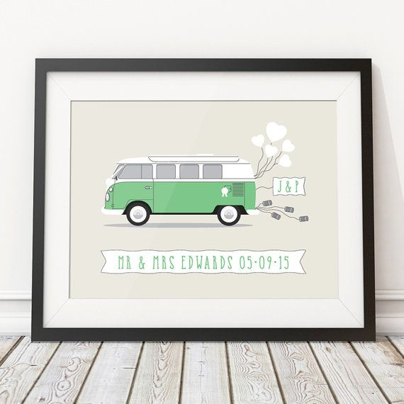 Wedding Gift Camper, Camper Van Wedding, Bus, Unique Wedding Gift For Couple, Personalised Print, Custom Poster,Wedding Present Personalized