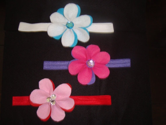 Lot of 3 Skinny Shimmery Headbands With a Felt by UnPetitPapillon, $12.50