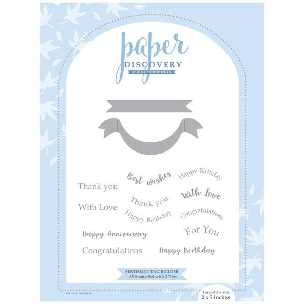 Paper Discovery Die Stamp Set Sentiment Tag Builder Set Of 14